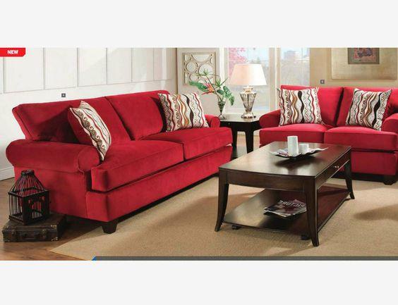 Modern Red Corded Fabric Sofa Lovesat Living Room Set T Cushion Seat
