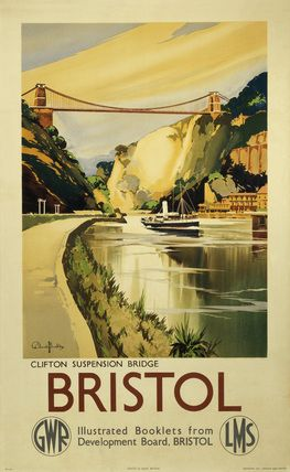 Poster produced for the Great Western Railway (GWR) and London, Midlands & Scottish Railway (LMS) to promote rail travel to Bristol.  Artwork by Claude Buckle