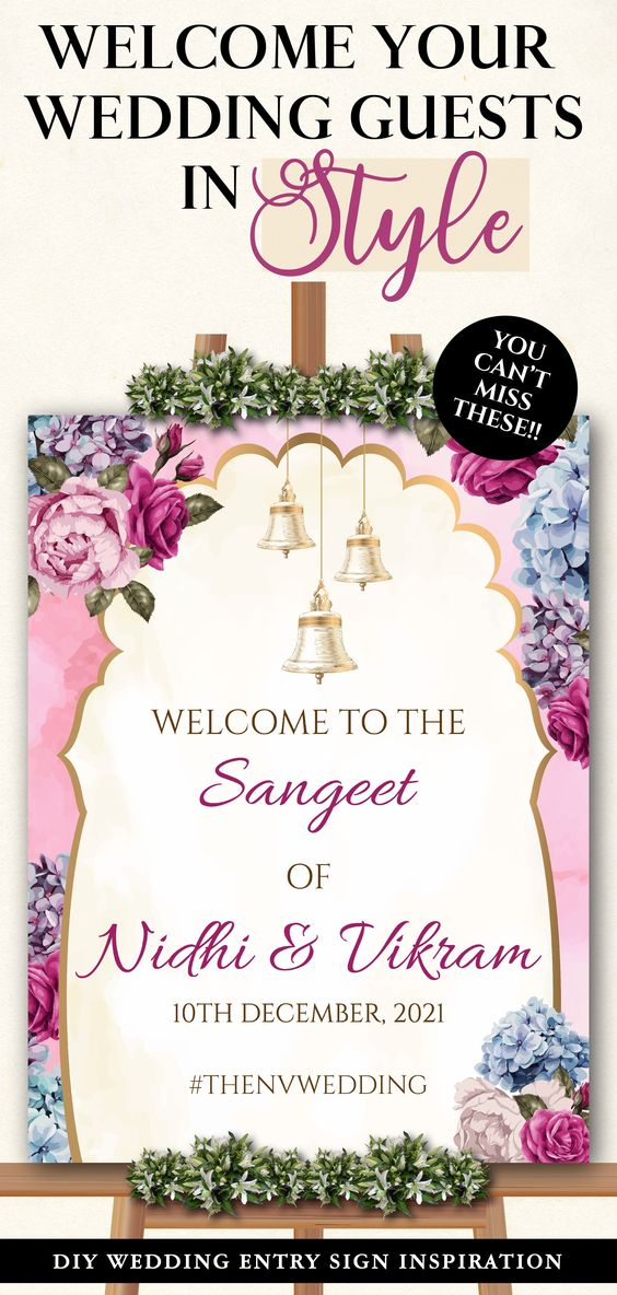 Hindu Wedding Welcome Sign As Indian Welcome Sign Floral Entry Sign As Sangeet Wedding Sign Ladies Sangeet Night Welcome Signage Template Wedding Signage Template Hindu Wedding Wedding Welcome