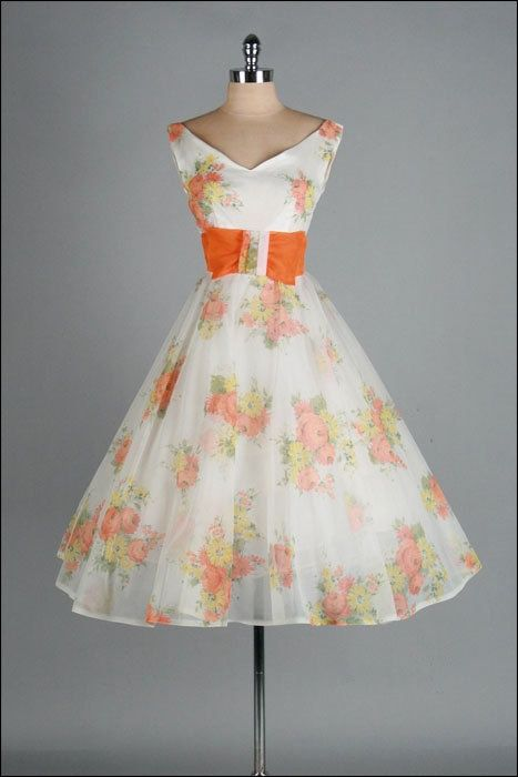 Vintage 1950's Dress . Ivory Chiffon . Orange . Floral . Full Skirt . Sleeveless. Dress