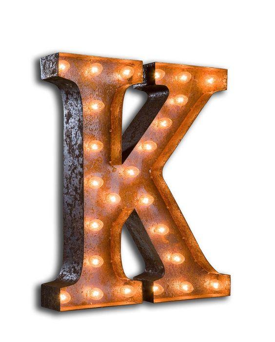 Vintage Letter K Marquee Light