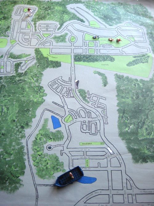 handmade playmat for matchbox cars and lego people - you could paint it with your own neighborhood