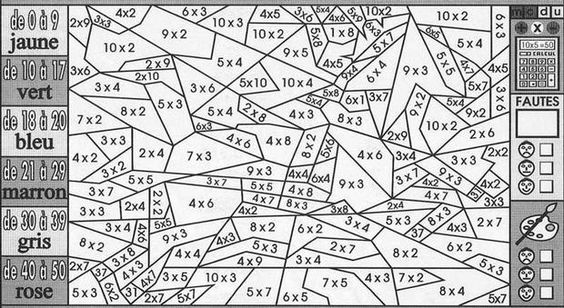 Coloriage magique - Tables de multiplication