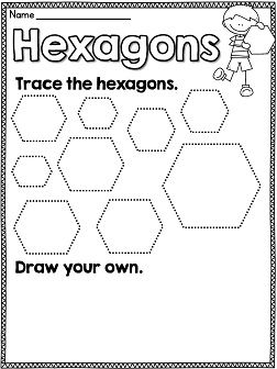 Printables Hexagon Worksheets kindergarten geometry and the ojays on pinterest tracing shapes worksheets for every shape hexagons