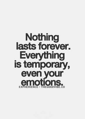 nothing lasts forever, everything is temporary, even your emotions ...