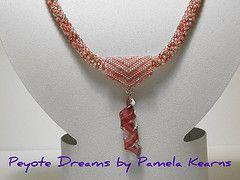 Peyote slider and lampwork pendant with crochet rope (Peyote Dreams) Tags: