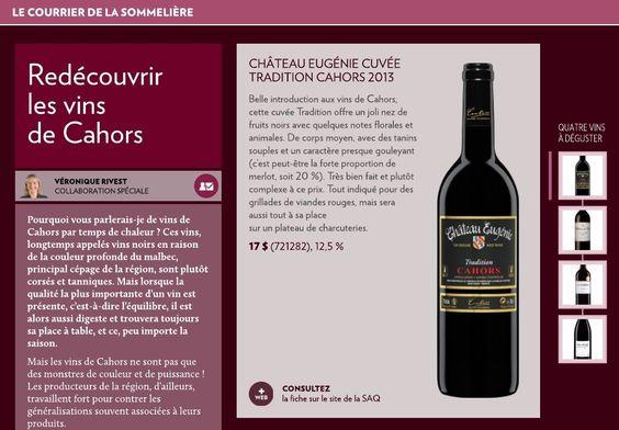 Pourquoi vous parlerais-je de vins de Cahors par temps de chaleur? Ces vins, longtemps appelés vins noirs en raison de la couleur profonde du malbec, principal cépage de la région, sont plutôt corsés et tanniques. Mais lorsque la qualité la plus importante d'un vin est présente, c'est-à-dir&hel