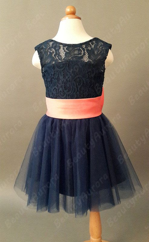 Navy Blue Lace Flower Girl Dress Coral Sash Navy by BeautyAurora ...