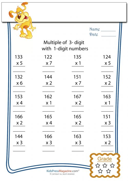 Worksheet #10001294: 2 Digit Times 1 Digit Multiplication ...