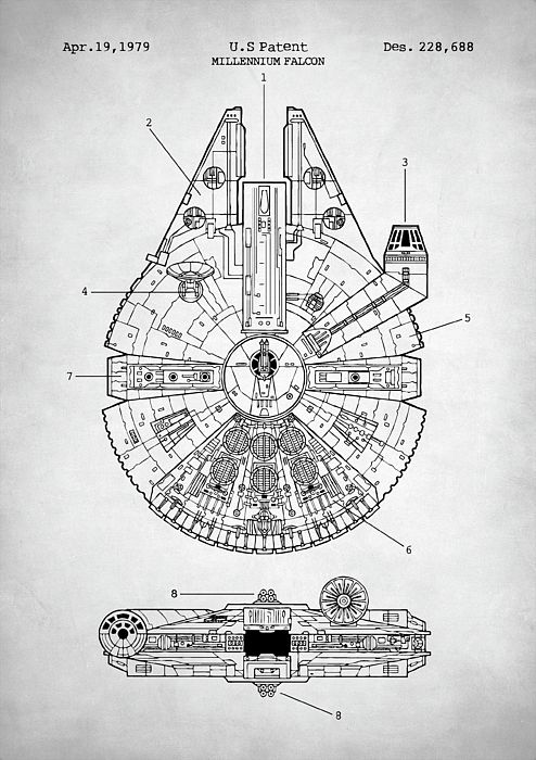 Star Wars Millennium Falcon Star Wars Poster Millennium Falcon Star Wars Patent Millennium Falcon Star Wars Star Wars Poster Star Wars Prints Star Wars Art
