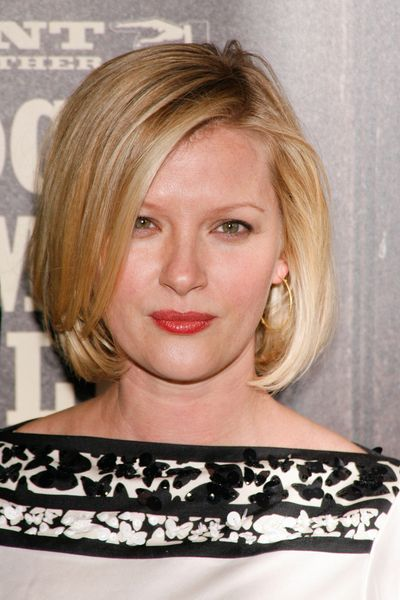 Like this, maybe keeping the length a little longer. Gretchen Mol's blonde, bob hairstyle