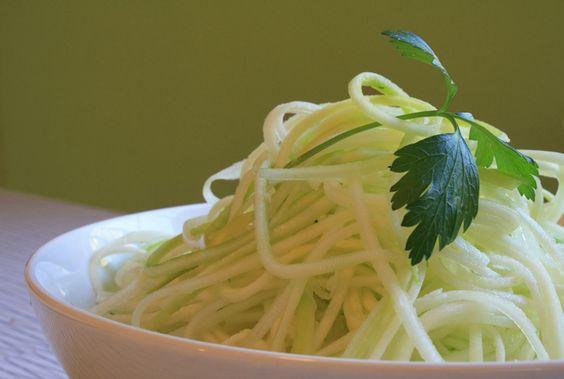 fun with my new julienne peeler. Zucchini Spaghetti!