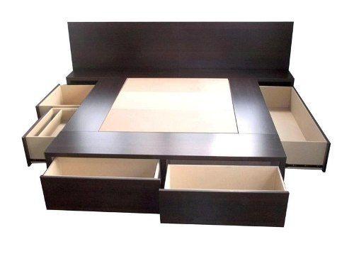 Cama con cajones 1 y 2 pl box sommier respaldo mesa de luz for Cama queen size con cajones