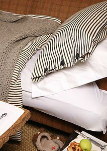 Organic Ticking Cotton Duvet Cover Set - bed linen