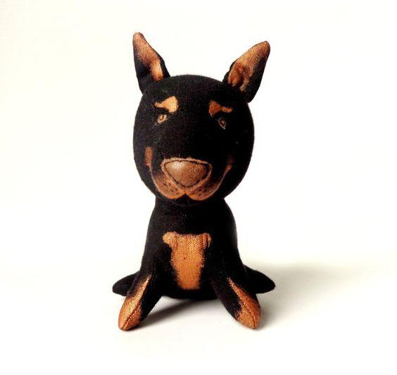 Doberman  miniature toy  Black and Tan Puppy Stuffed Animal dog