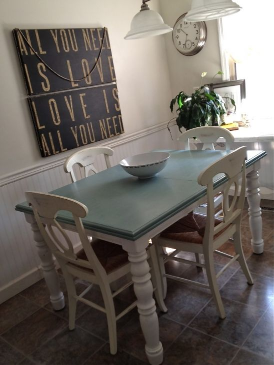 Table and chairs ducks and eggs on pinterest for Duck egg dining room ideas