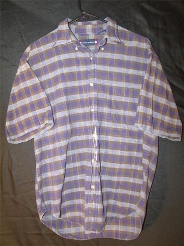 Mens M Medium Dress Shirt Button Up Plaid Flannel American Blue Short Sleeve