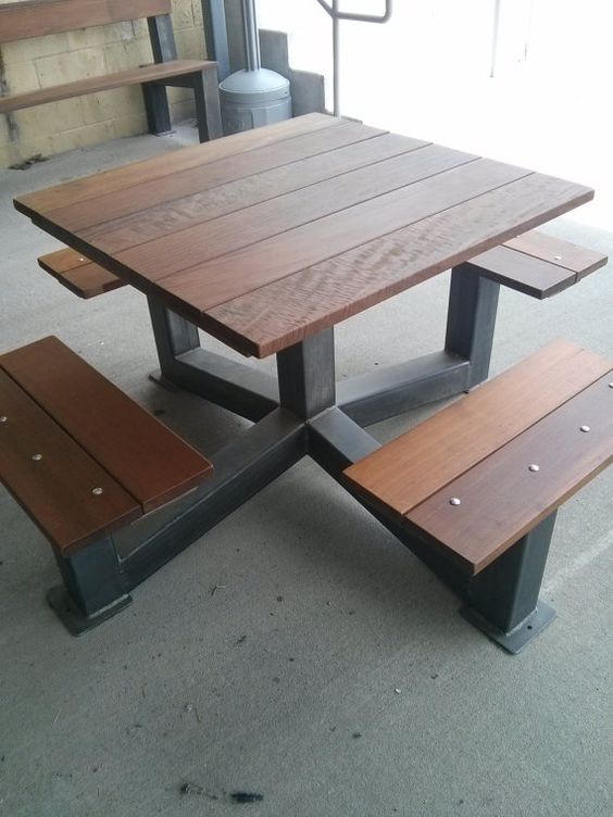 dining table outdoor modern industrial style picnic table industrial outdoor picnic tables. Black Bedroom Furniture Sets. Home Design Ideas