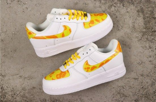 Custom Nike Air Force 1 Camo Yellow White | Nike air force