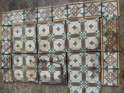 Ca. 1880, 15 x 15 cm, Germany. Mesa Bonita has been collecting hydraulic tiles for the past 10 years. All the tiles have been saved from the city dumpsters and desperately need a second life. They can be turned into a table, console, nightstand, frame, trivet, coaster… Contact me for information, I have a wide selection of styles and colors and a whole bunch of ideas: Benedicte Bodard  Mesa Bonita/Barcelona Tiles benedictebodard@gmail.com www.mesabonita.es https://www.pinterest.com/bbodard/