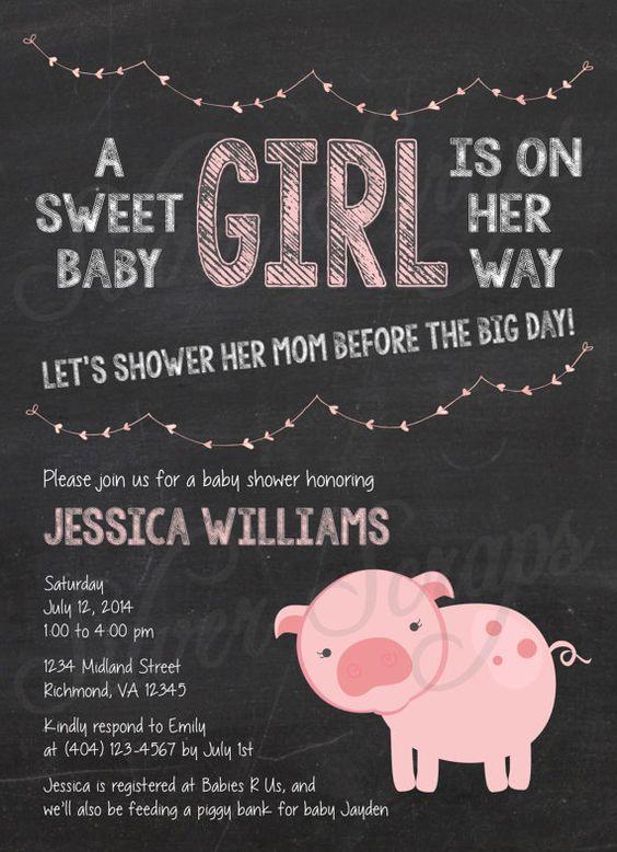 Chalkboard, Bunting and Pink Piggy Custom Girl Baby Shower Invitation - Pig Farm Garland Banner Flags Chalk Black White -5 Printable Designs...