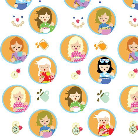 Yawning over Breakfast fabric by kiwicuties on Spoonflower - custom fabric