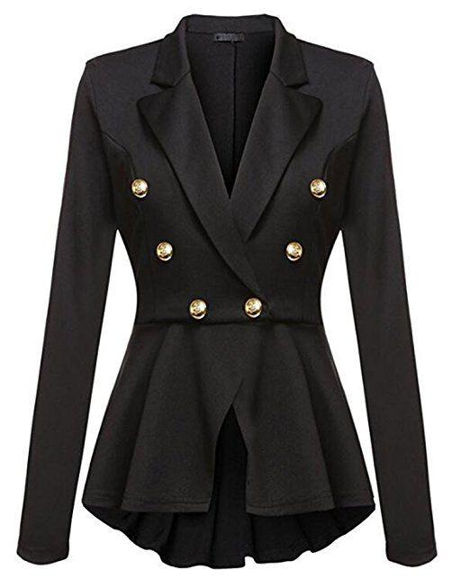 Damen Blazer Jacke Elegant Freizeit Schlank Business Lange