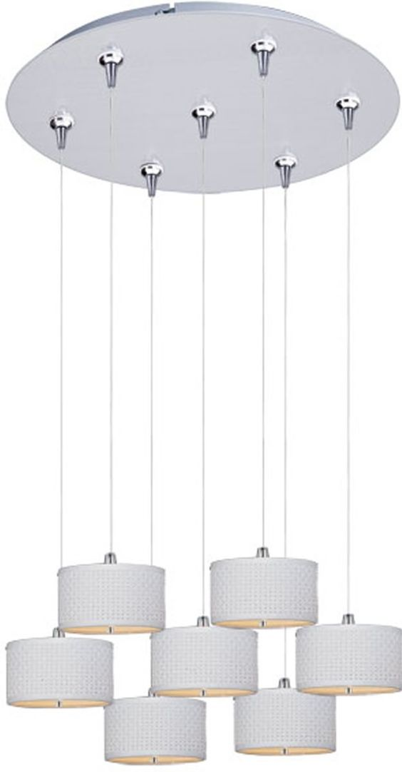 "0-031899>17""""w Elements Xenon 7-Light Multi-Light Pendant Satin Nickel"