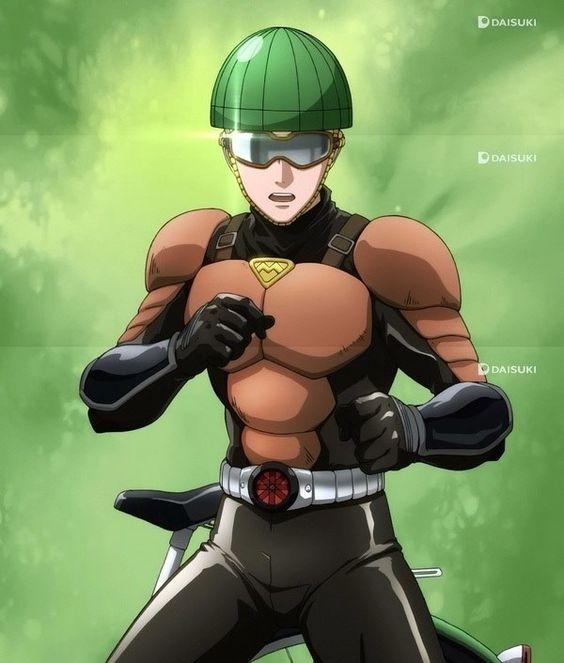 ONE PUNCH MAN, Hero, License-less Rider (無免ライダー, Mumen Raidā) Age 25 years old, No. 1 of C-Class from Z-City, Voice Actor Yuuichi Nakamura, Episode 4 http://onepunchman.wikia.com/wiki/License-less_Rider