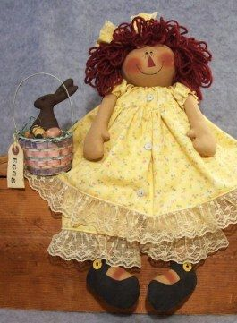 """Cloth Doll Pattern Free   Easter Morning Annie - 17 1/2"""" annie and Bunny pattern too - uses a 3 ..."""
