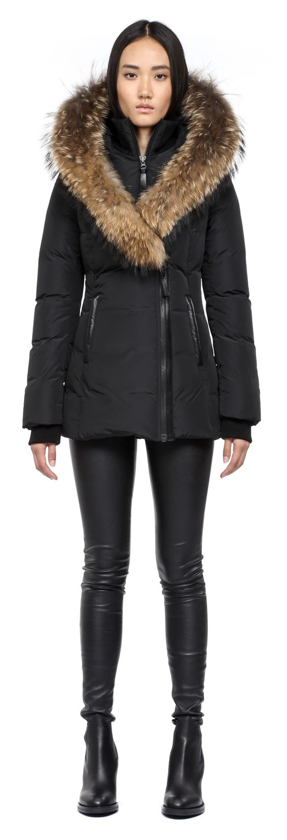 Mackage Adali F4 Black Fitted Winter Down Coat With Fur