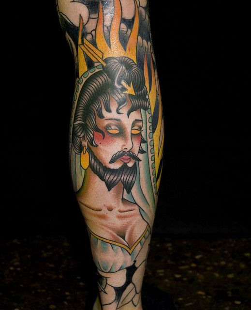 Bearded lady tattoo 1 myke chambers by Myke Chambers Tattoos,