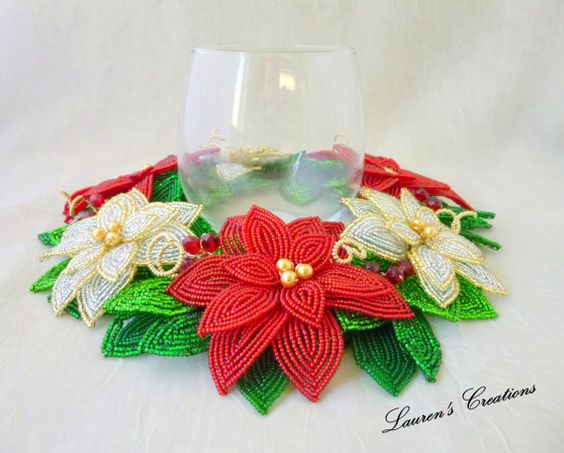 French Beaded Flower  Red and White Poinsettia by LaurenHCreations, $100.00