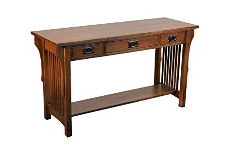 Arts And Crafts Mission Solid Oak Sofa Table With Three Drawers