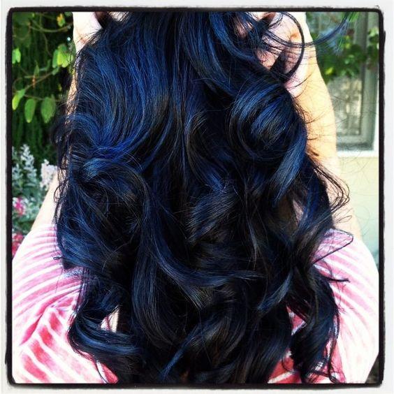 Cabello, Por, Colorines, Delineador, Tintes, Cortes De Pelo Peinados Haircolor, Peinados Inconformista, Color De Peinados, Reflejos Azules Pelo Negro