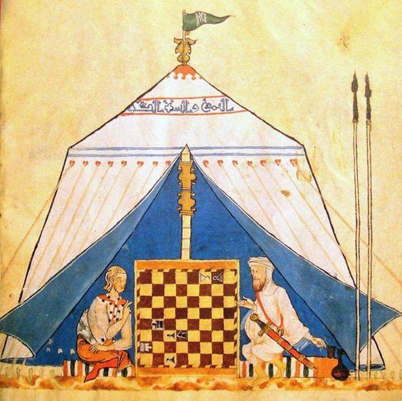 Un chrétien et un musulman jouant aux échecs [ Livre des échecs, dés et tables, vers 1283, Bibliothèque du monastère roayl de Saint-Laurent-de-l'Escurial ]