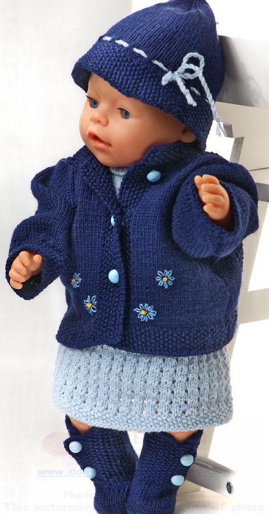 puppenkleider stricken in hellblau und dunkelblau doll knitting patterns from malfrid gausel. Black Bedroom Furniture Sets. Home Design Ideas