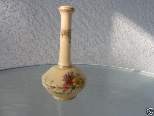 Antique Royal Worcester Porcelain Green Mark Bottle Nec Hand Painted Flower Vase