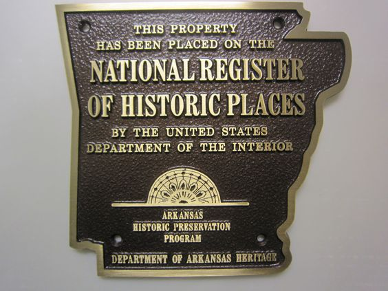 Bronze Arkansas National Register Plaque - Very Creative!  cast bronze plaque by Erie Landmark Company a division of Paul W. Zimmerman Foundries celebrating 75 years of plaques!   Find us on the web at www.erielandmark.com or place an order at info@erielandmark.com.