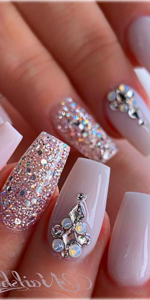 Christmas Nails Acrylic Nails Design With Rhinestones Acrylic Nails Coffin Rhinestone Nails