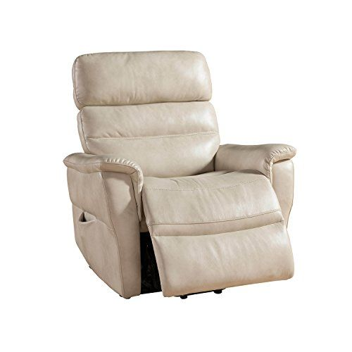 Ac Pacific Contemporary Faux Leather Upholstered Rail Power Reclining Lift Living Room Gaming Chair Cream Lift Chairs Power Recliners Recliner