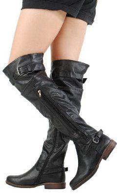 Montage03 Side Zipper OTK Riding Boots BLACK