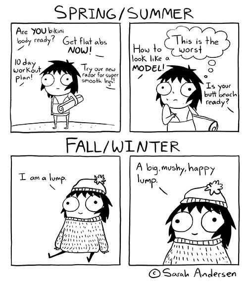 Dealing With The Get Flat Abs and Beach Body Ready In The Summer Vs. Winter In Comic By Sarah Andersen