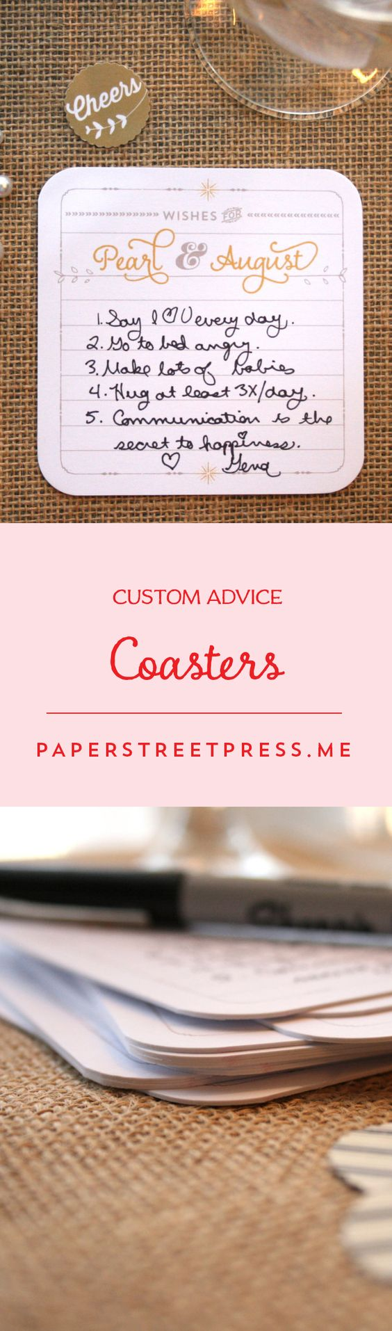 Add some personalized flair to your table decor with these cute coasters. $1.03+ from Paper Street Press #wedding #coasters