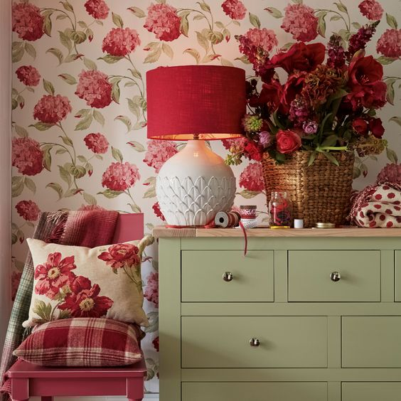 14 Cranberry Drum Shade with Wisteria Floral Inner: