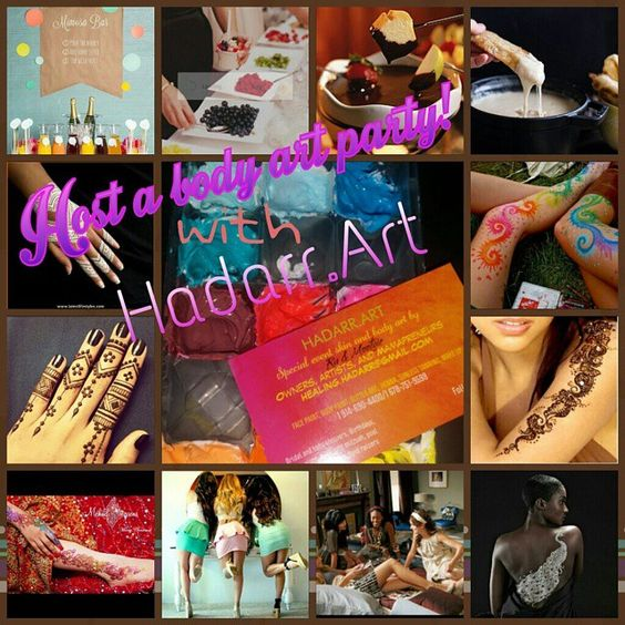 Whether its ladies night I n or you getting ready for a night out... HADARR ART IS READY TO ADORN YOU AND YOUR LADIES with the hottest trends in henna, glitter art, and body paint. We can bring everything you need to pre-game with a mimosa bar and fruit cheese and chocolate platters or a fondue bar  Included with our fee each guest gets one free body art design, additional or larger designs may be purchased separately.  Call for prices and booking