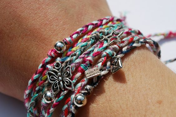 cluster  braided fabric charm bracelets