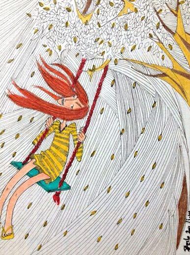 Balanço - Moleskine - caneta fine line e lápis aquarela  #tapiocacomlimao #arte #ilustração #design #desenho