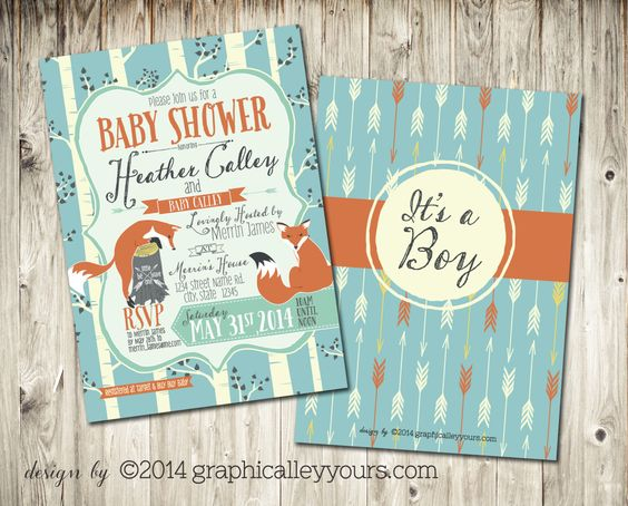 indie forest theme baby shower invitation - foxes, aspens, arrows, Baby shower invitations