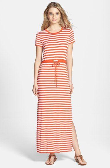 MICHAEL Michael Kors Stripe Short Sleeve Drawstring Waist Maxi Dress (Regular & Petite) available at #Nordstrom